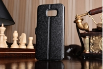 """Фирменный чехол-книжка для Samsung Galaxy S7 edge G9350/G935 5.5""""   черный с окошком для входящих вызовов и свайпом водоотталкивающий"""