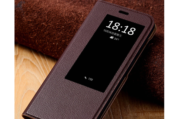 Фирменный оригинальный чехол-книжка для Huawei Mate 20 6.53 цвет коричневый кожаный с окошком для входящих вызовов