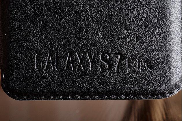 Фирменный оригинальный чехол-книжка для Samsung Galaxy S7 edge G9350/G935 5.5 цвет черный кожаный с окошком для входящих вызовов