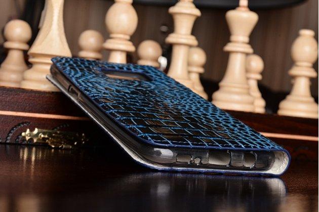 """Фирменный роскошный эксклюзивный чехол с объёмным 3D изображением рельефа кожи крокодила синий для Samsung Galaxy S7 edge G9350/G935 5.5"""". Только в нашем магазине. Количество ограничено"""