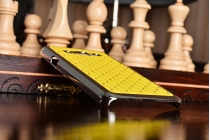 Фирменная роскошная задняя-панель-накладка декорированная кристалликами на Samsung Galaxy A3 SM-A300F/H/YZ желтая