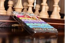 Фирменная роскошная элитная пластиковая задняя панель-накладка украшенная стразами кристалликами и декорированная элементами для Samsung Galaxy A3 радужная