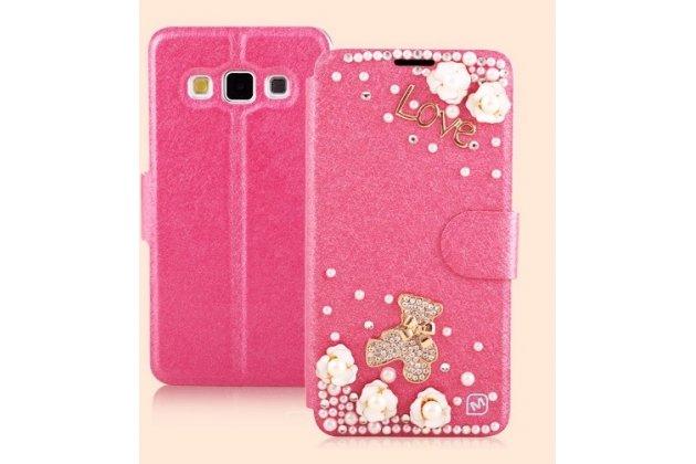 Фирменный роскошный чехол-книжка безумно красивый декорированный бусинками и кристаликами на Samsung Galaxy A3 SM-A300F/H/YZ