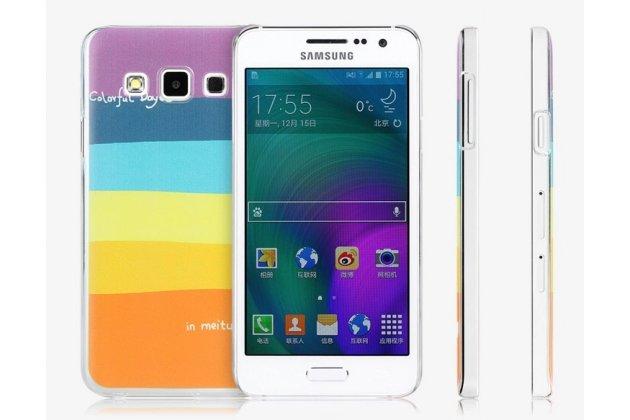 """Фирменная необычная из легчайшего и тончайшего пластика задняя панель-чехол-накладка для Samsung Galaxy A3 SM-A300F/H/YZ """"тематика Все цвета Радуги"""""""