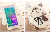 """Фирменная задняя панель-чехол-накладка с объёмным 3D изображением для Samsung Galaxy A5 """"тематика кот Джентельмен"""" бежевая"""