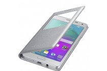 Фирменный оригинальный чехол с логотипом для Samsung Galaxy A5 SM-A500F/H S-View Cover серебристый