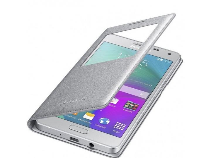 Фирменный оригинальный чехол с логотипом для Samsung Galaxy A5 SM-A500F/H S-View Cover серебристый..