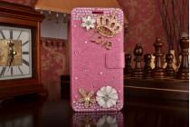 Фирменный роскошный чехол-книжка безумно красивый декорированный бусинками и кристаликами на Samsung Galaxy A5