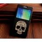 Фирменный чехол-книжка с безумно красивым расписным рисунком черепа на Samsung Galaxy A7 с окошком для звонков..
