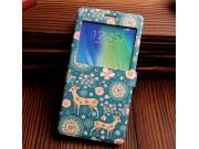 Фирменный чехол-книжка с безумно красивым расписным рисунком Оленя в цветах на Samsung Galaxy A7 с окошком для..