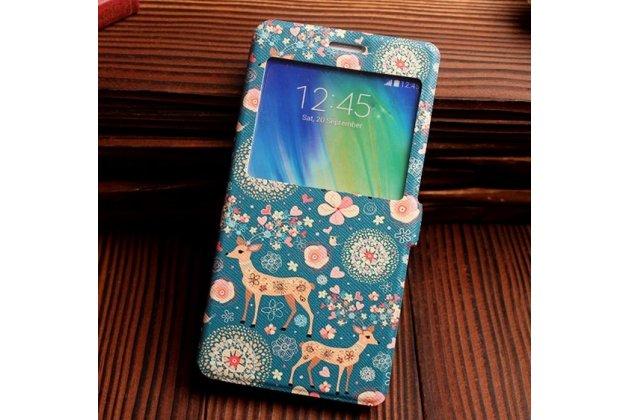 Фирменный чехол-книжка с безумно красивым расписным рисунком Оленя в цветах на Samsung Galaxy A7 с окошком для звонков
