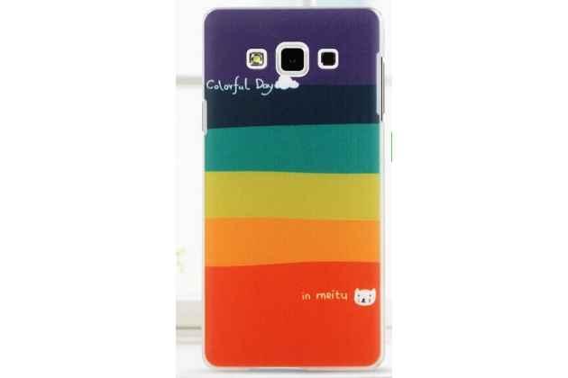 """Фирменная необычная из легчайшего и тончайшего пластика задняя панель-чехол-накладка для Samsung Galaxy A7 """"тематика Все цвета Радуги"""""""