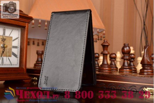 Фирменный оригинальный вертикальный откидной чехол-флип для Samsung Galaxy A7 черный кожаный
