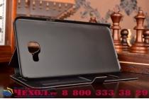 """Фирменный чехол-книжка для Samsung Galaxy A9 2016 A900F /A9000 6.0""""  черный с окошком для входящих вызовов и свайпом водоотталкивающий"""