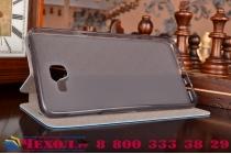 """Фирменный чехол-книжка из качественной водоотталкивающей импортной кожи на жёсткой металлической основе для Samsung Galaxy A9 2016 A900F /A9000 6.0"""" бирюзовый"""
