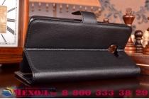 """Фирменный чехол-книжка из качественной импортной кожи с подставкой застёжкой и визитницей для Самсунг Гэлакси / Samsung Galaxy A9 2016 A900F /A9000 6.0""""   черный"""