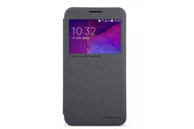 Фирменный чехол-книжка для Samsung Grand 3 / Grand  Max G7200 с функцией умного окна(входящие вызовы, фонарик, плеер, включение камеры) черный