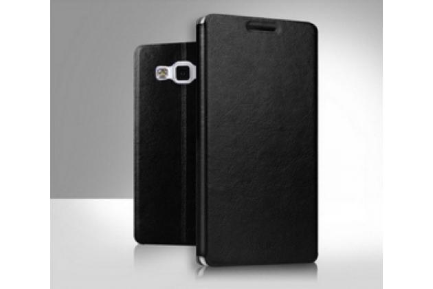Фирменный чехол-книжка из качественной водоотталкивающей импортной кожи на жёсткой металлической основе для Samsung Grand 3 / Grand  Max G7200 черный