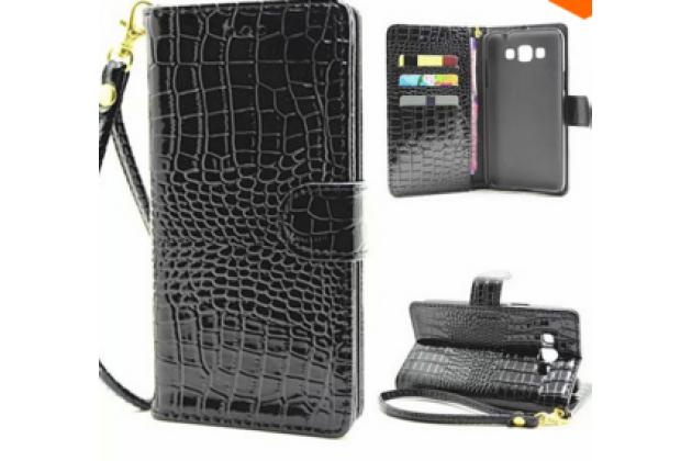 """Фирменный чехол-книжка с подставкой для Samsung Grand 3 / Grand  Max G7200"""" лаковая кожа крокодила черный"""