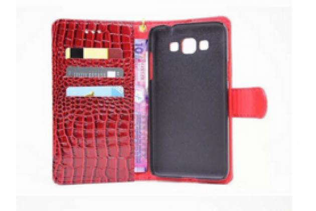 """Фирменный чехол-книжка с подставкой для Samsung Grand 3 / Grand  Max G7200"""" лаковая кожа крокодила красный"""