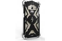 """Противоударный металлический чехол-бампер из цельного куска металла с усиленной защитой углов и необычным экстремальным дизайном  для Samsung Galaxy J3 (2016) SM-J320F/DS/J320H/DS 5.0"""" черного цвета"""