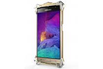 """Противоударный металлический чехол-бампер из цельного куска металла с усиленной защитой углов и необычным экстремальным дизайном  для Samsung Galaxy J3 (2016) SM-J320F/DS/J320H/DS 5.0"""" золотого цвета"""