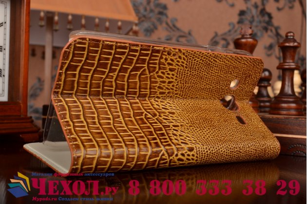 Фирменный роскошный эксклюзивный чехол с объёмным 3D изображением кожи крокодила коричневый для Samsung Galaxy Mega 5.8 GT-i9150/i9152 . Только в нашем магазине. Количество ограничено