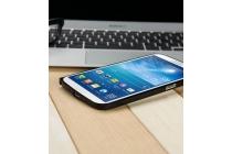 Фирменный оригинальный ультра-тонкий чехол-бампер для Samsung Galaxy Mega 6.3 GT-i9200 черный металлический