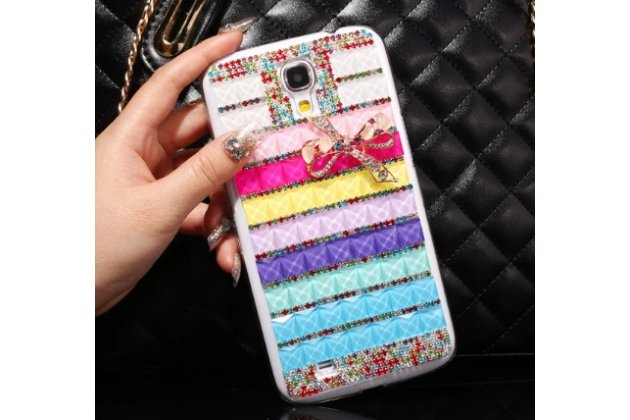 Фирменная роскошная элитная пластиковая задняя панель-накладка украшенная стразами кристалликами и декорированная элементами для Samsung Galaxy Mega 6.3 GT-i9200 радужная