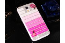 Фирменная роскошная элитная пластиковая задняя панель-накладка украшенная стразами кристалликами и декорированная элементами для Samsung Galaxy Mega 6.3 GT-i9200 малиновая