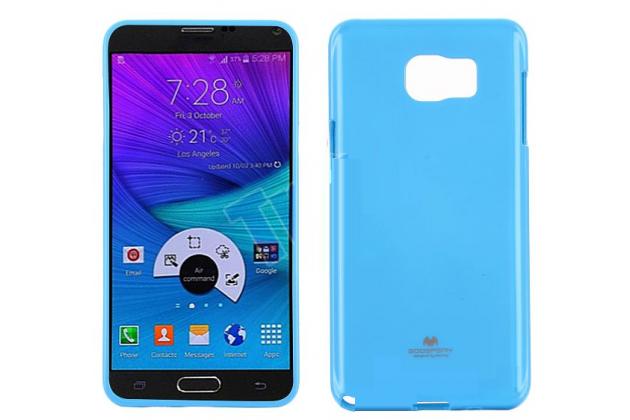 Фирменная ультра-тонкая полимерная из мягкого качественного силикона задняя панель-чехол-накладка для Samsung Galaxy Note 5  голубая
