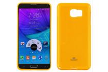 Фирменная ультра-тонкая полимерная из мягкого качественного силикона задняя панель-чехол-накладка для Samsung Galaxy Note 5 оранжевая