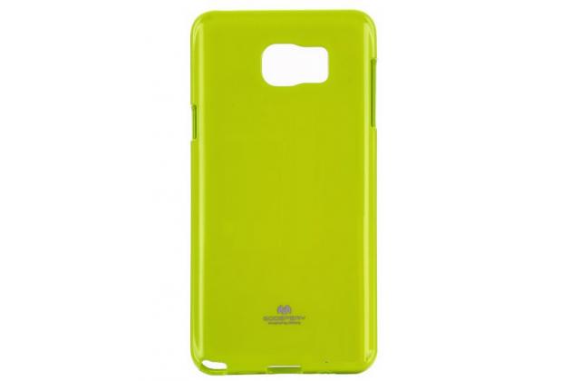 Фирменная ультра-тонкая полимерная из мягкого качественного силикона задняя панель-чехол-накладка для Samsung Galaxy Note 5 зеленая