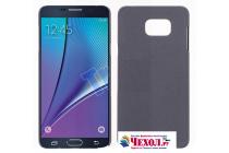 Фирменная задняя панель-крышка-накладка из тончайшего и прочного пластика для Samsung Galaxy Note 5  серая