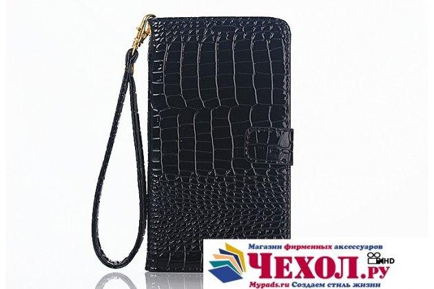 Фирменный чехол-книжка с подставкой для Samsung Galaxy Note 5 лаковая кожа крокодила цвет черный
