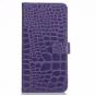 Фирменный чехол-книжка с подставкой для Samsung Galaxy Note 5 лаковая кожа крокодила цвет фиолетовый..