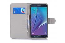 """Фирменный уникальный необычный чехол-книжка для Samsung Galaxy Note 5 """"тематика Сова"""""""