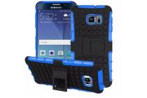 Противоударный усиленный ударопрочный фирменный чехол-бампер-пенал для  Samsung Galaxy Note 5 синий