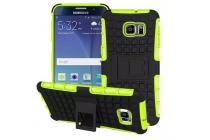 Противоударный усиленный ударопрочный фирменный чехол-бампер-пенал для Samsung Galaxy Note 5 зелёный