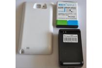Усиленная батарея-аккумулятор большой повышенной ёмкости 7000mah для телефона Samsung Galaxy Note 1 N7000/LTE GT-N7005 с задней крышкой белой + беспроводное зарядное устройство/док станция  + гарантия