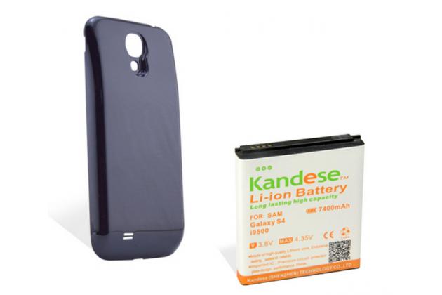 Усиленная батарея-аккумулятор большой повышенной ёмкости 7400mah для телефона Samsung Galaxy S4 / S4 LTE/ S4 Value GT-i9500/i9505/i9506/i9515 + задняя крышка черная+ гарантия