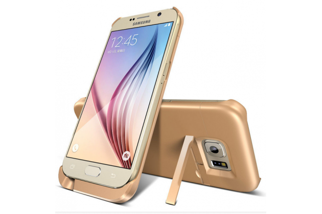 """Чехол-бампер со встроенной усиленной мощной батарей-аккумулятором большой повышенной расширенной ёмкости 5800mAh для Samsung Galaxy S6 Edge Plus + SM-G928 5.7"""" золотой + гарантия"""