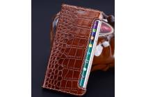 Фирменный роскошный эксклюзивный чехол с фактурной прошивкой рельефа кожи крокодила коричневый для Samsung Galaxy S6 Edge SM-G925F . Только в нашем магазине. Количество ограничено