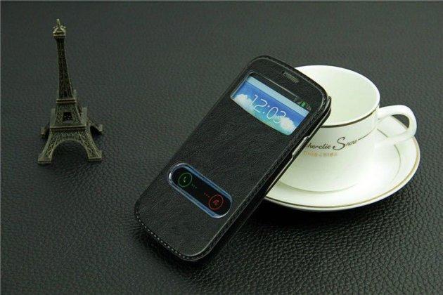 Фирменный чехол-книжка для Samsung Galaxy S3 GT-i9300 черный с окошком для входящих вызовов и свайпом водоотталкивающий