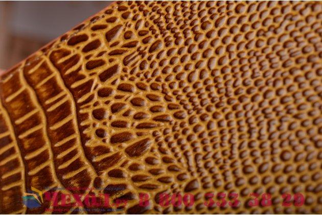 Фирменный роскошный эксклюзивный чехол с объёмным 3D изображением кожи крокодила коричневый для Samsung Galaxy S4 GT-i9500/i9505 . Только в нашем магазине. Количество ограничено