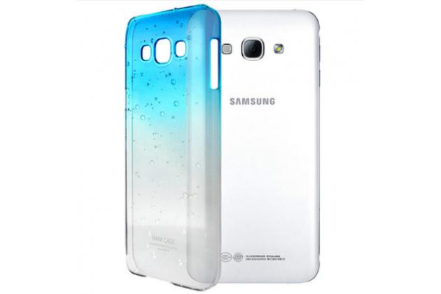 Фирменная из тонкого и лёгкого пластика задняя панель-чехол-накладка для Samsung Galaxy A8 SM-A800F/DS/Dual Sim/Duos  прозрачная с эффектом дождя
