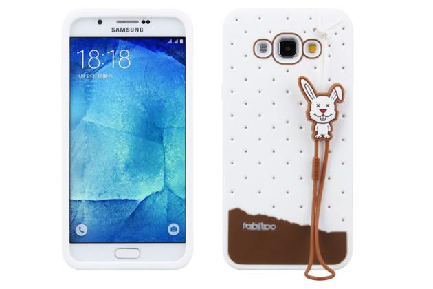 """Фирменная необычная уникальная полимерная мягкая задняя панель-чехол-накладка для Samsung Galaxy A8 SM-A800F/DS/Dual Sim/Duos  """"тематика Андроид в Белом Шоколаде"""""""