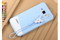 """Фирменная необычная уникальная полимерная мягкая задняя панель-чехол-накладка для Samsung Galaxy A8 SM-A800F/DS/Dual Sim/Duos  """"тематика Андроид в черничном  Шоколаде"""""""