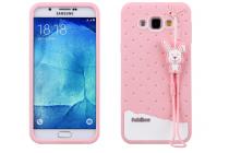 """Фирменная необычная уникальная полимерная мягкая задняя панель-чехол-накладка для Samsung Galaxy A8 SM-A800F/DS/Dual Sim/Duos  """"тематика Андроид в клубничном шоколаде"""""""