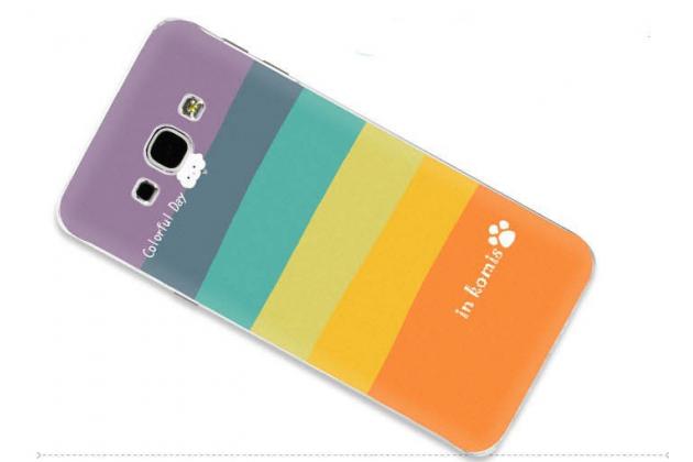 """Фирменная необычная из легчайшего и тончайшего пластика задняя панель-чехол-накладка для Samsung Galaxy A8 SM-A800F/DS/Dual Sim/Duos  """"тематика Все цвета Радуги"""""""
